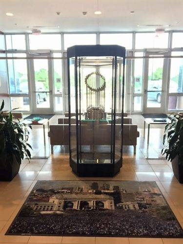Kansas City Royals World Series Trophy on display. Well, sort of.