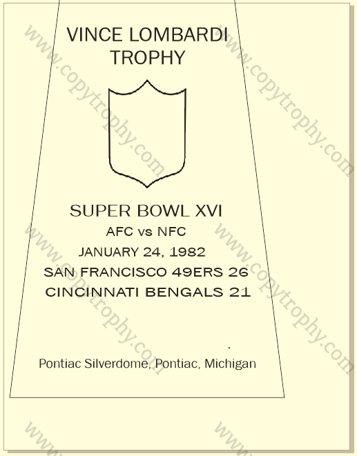 SUPER_BOWL_16_SF_49ERS-1 Vince Lombardi Trophy, Super Bowl 16, XVI San Francisco 49ers