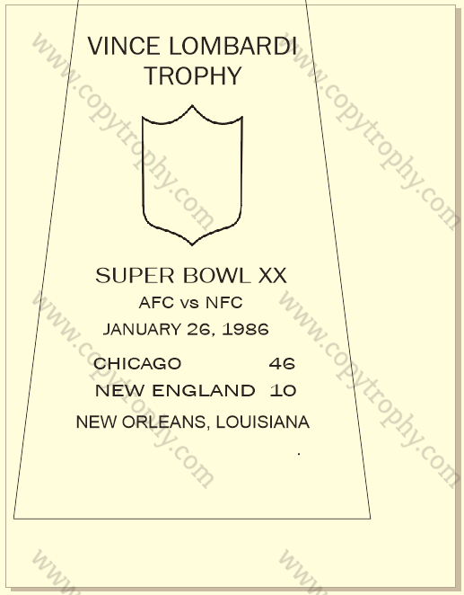 SUPER_BOWL_20_BEARS-1-1 Vince Lombardi Trophy, Super Bowl 20, XX Chicago Bears