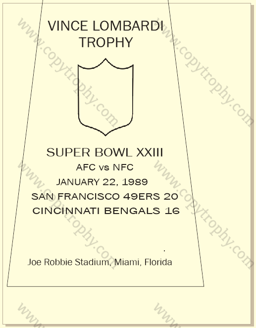 SUPER_BOWL_23_SF_49ers-1 Vince Lombardi Trophy, Super Bowl 23, XXIII San Francisco 49ers