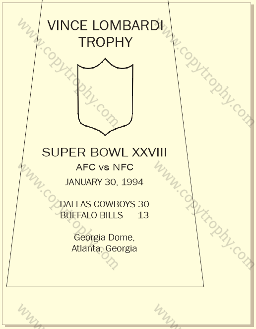 SUPER_BOWL_28_COWBOYS_MY_ENGRAVING-1 Vince Lombardi Trophy, Super Bowl 28, XXVIII Dallas Cowboys