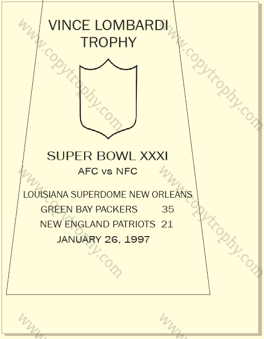 SUPER_BOWL_31_PACKERS-1 Vince Lombardi Trophy, Super Bowl 31, XXXI Green Bay Packers