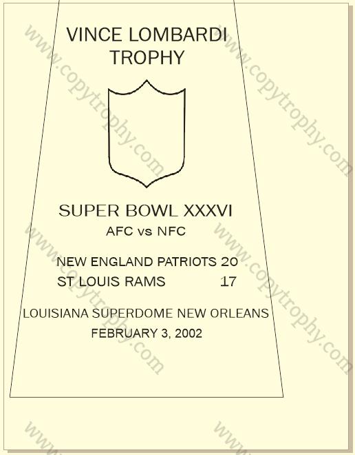 SUPER_BOWL_36_PATRIOTS-1 Vince Lombardi Trophy, Super Bowl 36, XXXVI New England Patriots