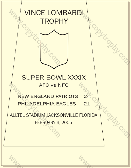 SUPER_BOWL_39_PATRIOTS Vince Lombardi Trophy, Super Bowl 39, XXXIX New England Patriots