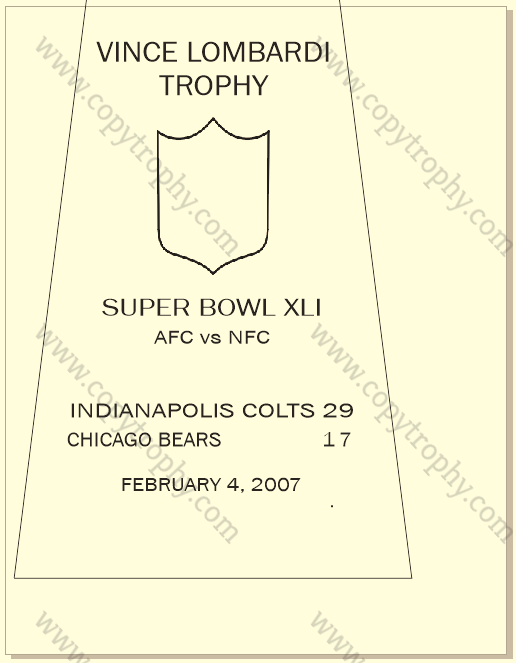 SUPER_BOWL_41_COLTS Vince Lombardi Trophy, Super Bowl 41, XLI Indianapolis Colts