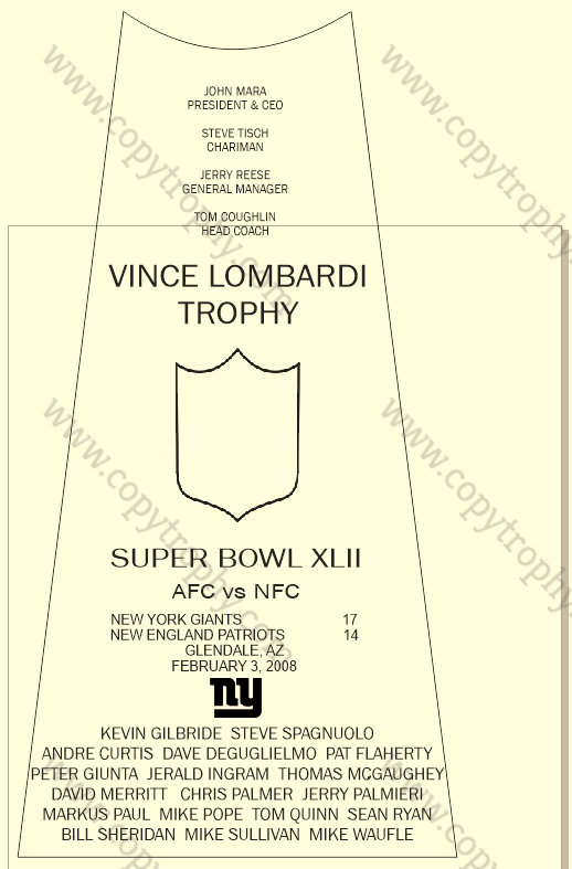 SUPER_BOWL_42_GIANTS Vince Lombardi Trophy, Super Bowl 42, XLII New York Giants