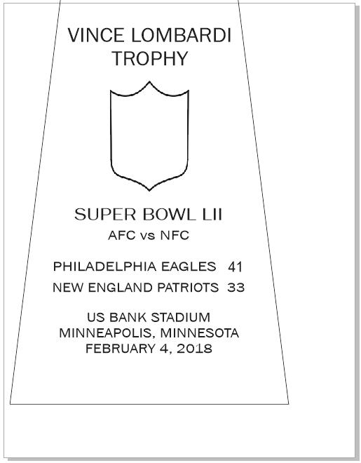 SUPER_BOWL_52_EAGLES Vince Lombardi Trophy, Super Bowl 52, LII Philadelphia Eagles