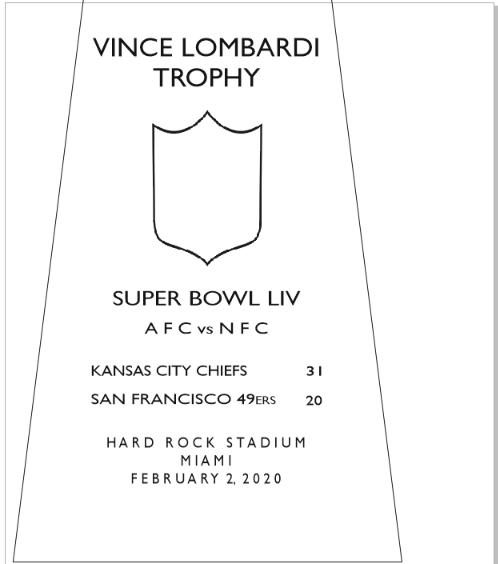 SUPER_BOWL_54__CHIEFS-2 Vince Lombardi Trophy, Super Bowl 54, LIV Kansas City Chiefs