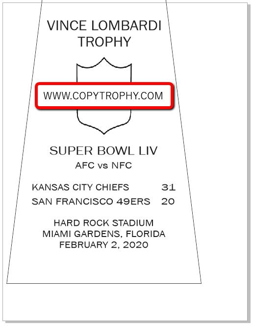 SUPER_BOWL_54__CHIEFS Vince Lombardi Trophy, Super Bowl 54, LIV Kanasa City Chiefs